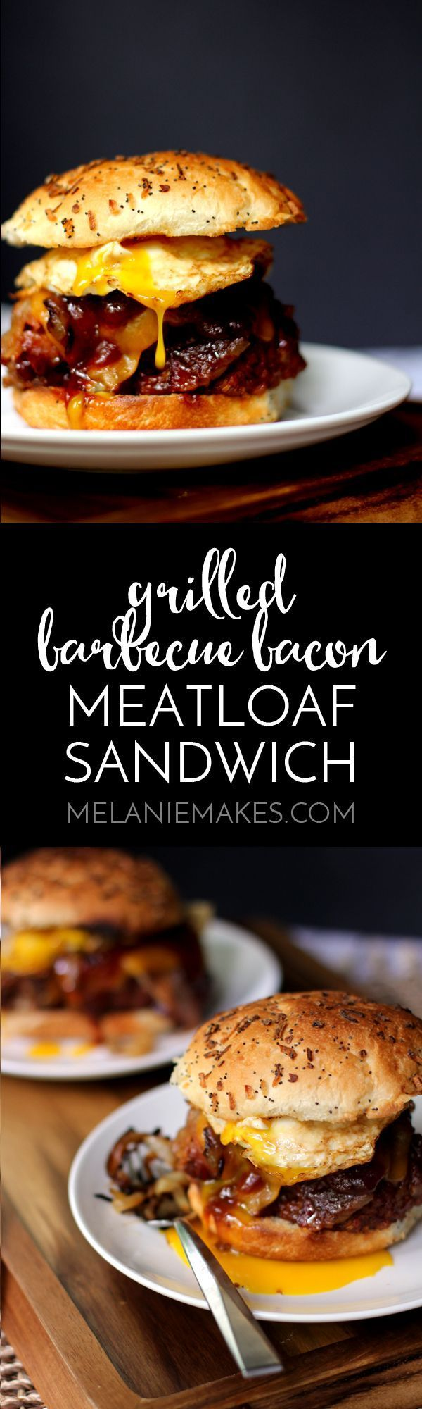 This Grilled Barbecue Bacon Meatloaf Sandwich is the absolute king of all sandwiches. A thick slice of grilled, bacon wrapped meatloaf covered in blanketed by a melty slice of sharp cheddar cheese before being topped with bourbon caramelized onions, barbecue sauce and a fried egg. Dinner is served!