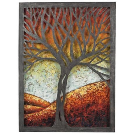 "Whitney Autumn Tree 37"" High Rust Metal Cut-Out Wall Art - #3M105 
