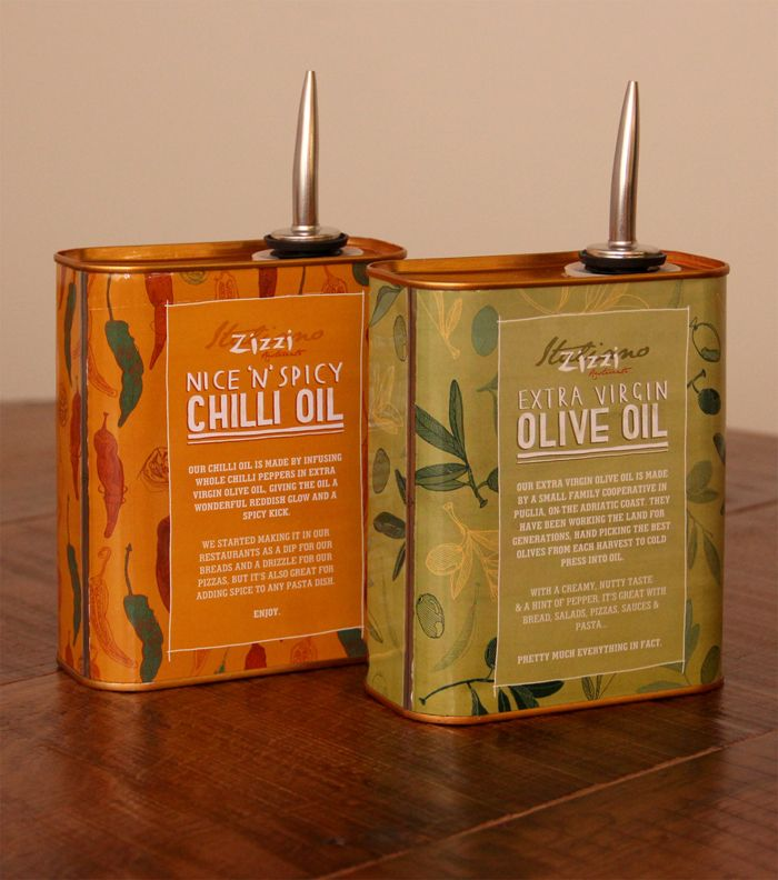 Check out these Oil can packaging design for Italian restaurant chain Zizzi  designed by Tobias Hall. Zizzi was born in 1999 with thier first restaurant  opening in Chadwick, London. Since then, they've opened more than 100  restaurants across the UK.