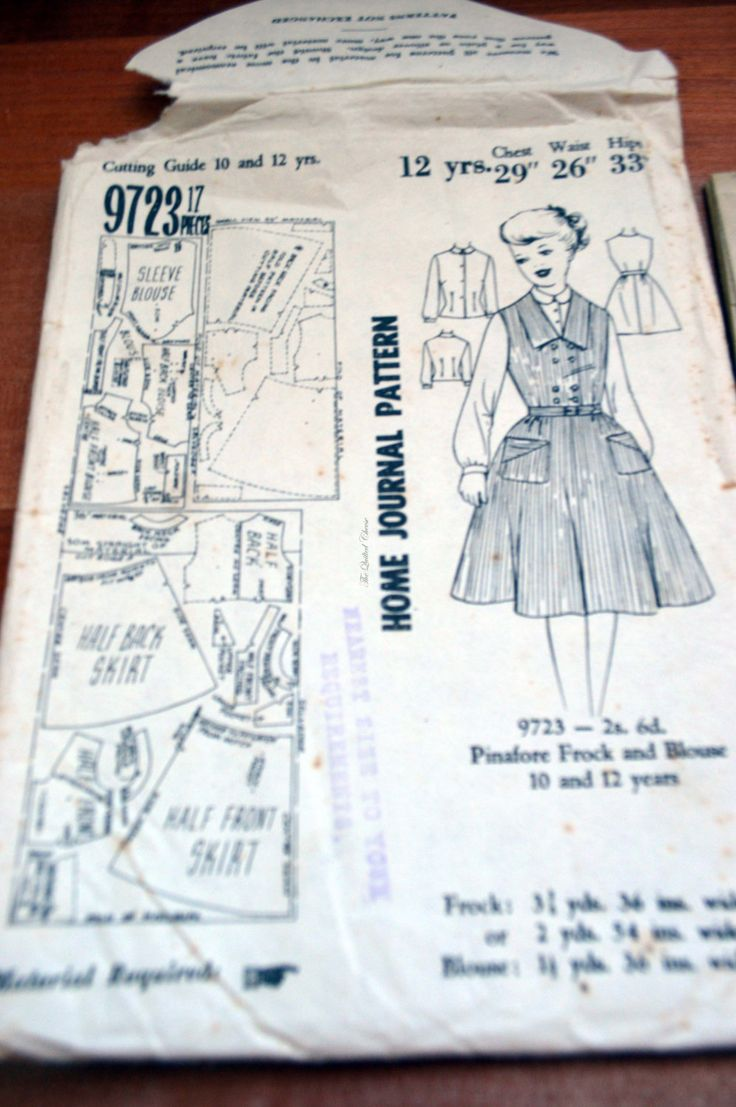 Home Journal pattern, no 9723, pinafore frock and blouse. 10 to 12 years, paper pattern by TheQuiltedCheese on Etsy