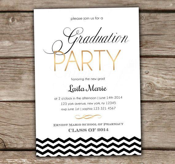 Graduation Party Invitation - Printed, Summer Party, College, High School, Kindergarten, Preschool, Gold, Black, Chevron, White - chitrap.com