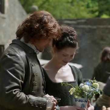 "Jamie Fraser (Sam Heughan) and Claire (Caitriona Balfe) in ""Lallybroch"" of Outlander on Starz via http://www.springfieldspringfield.co.uk/view-screencaps.php?tv-show=outlander-2014&episode=s01e12"