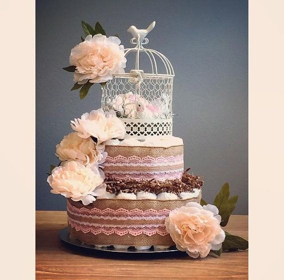 Antique-style vintage baby bird diaper cake by JennyKnickDesigns