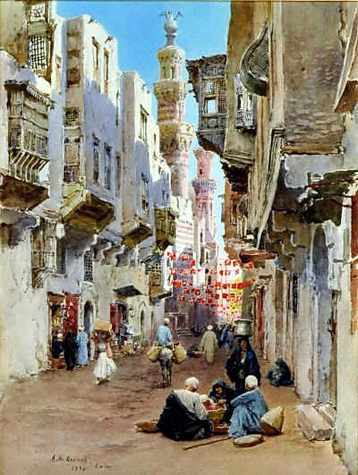Cairo street scene 1894 by Alexandre Roussoff ( Russian, b.1844, d.1928 ) Oil on canvas