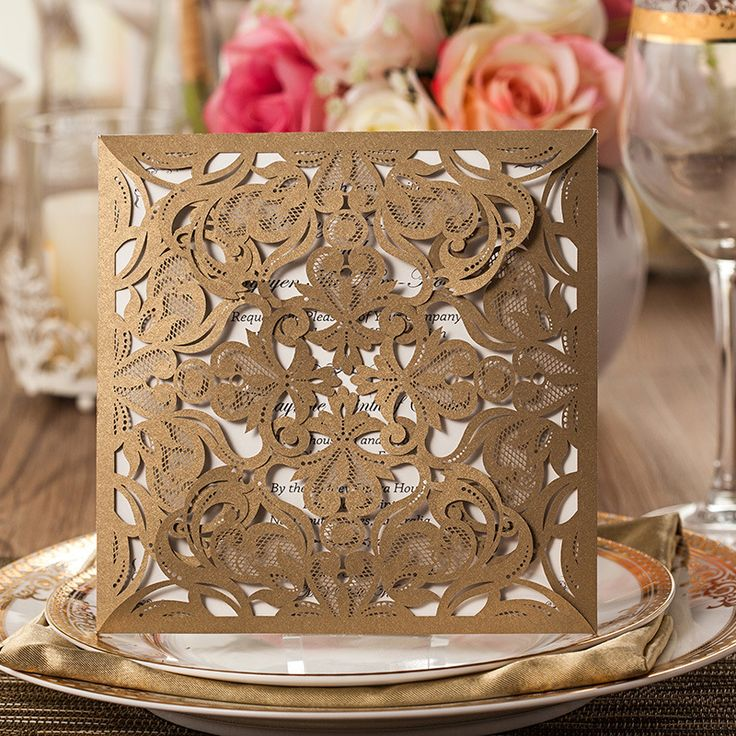 Gold Classic Laser Cut Wedding Invitations
