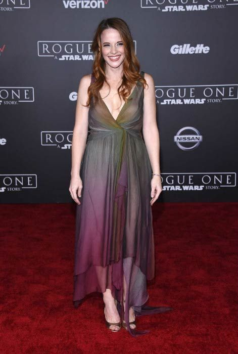 "Katie Leclerc at the premiere of ""Rogue One: A Star Wars Story"" in December 2016..."