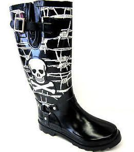 Ladies Wellington Boots Black/white Skull & Barbed Wire X1107