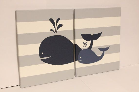 whale nursery wall art baby boy girl whale by JessieAnnCreations, $58.00