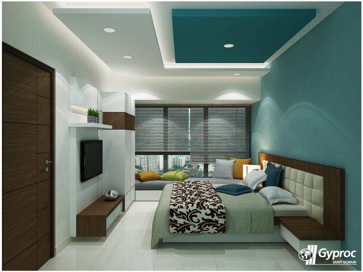 Recessed master bedroom ceiling with hidden lights