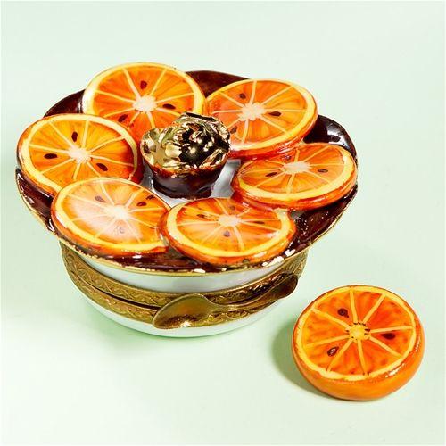 Limoges Orange Plate Box with Slice The Cottage Shop