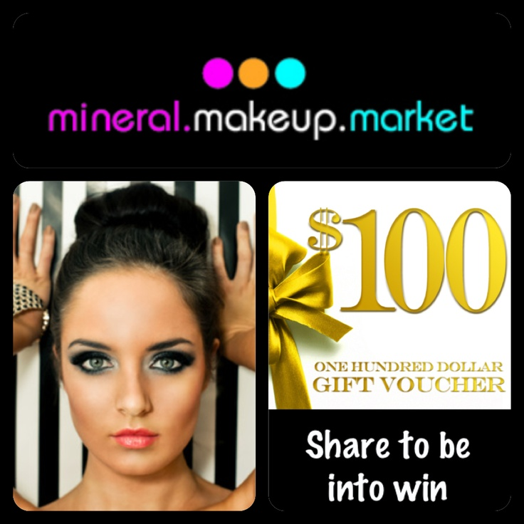 Be into win $100.00 voucher when you Repin this picture.   Also share on Facebook, Twitter or Sign up to our mailing list.   It's so easy, getting pinning!  www.mineralmakeupmarket.com