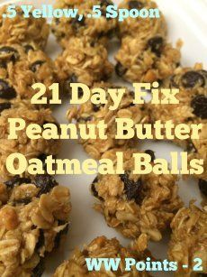 21 Day Fix Peanut Butter Oatmeal Balls, aka OMG THESE ARE SO GOOD! Totally, 100% customizable! Include raisins, chocolate chips, coconut...anything! Looking to eat delicious clean food like this and lose weight? Contact me @JackieVetrano! :)