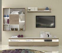 Ensemble meuble TV couleur chêne clair et blanc laqué moderne LUMINOS SOFAMOBILI-63