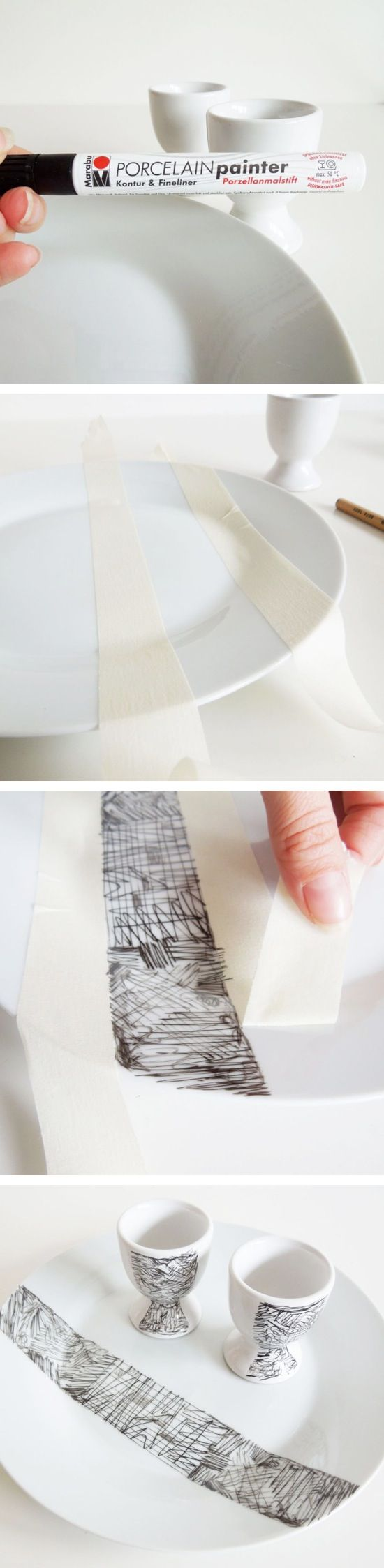 From CRAFT BY PHOTO: Scribble Decorated Porcelain #DIY #adelinecrafts #getcreative