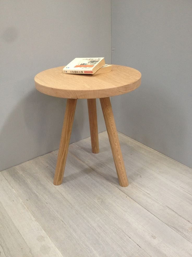 round side table in american oak.handmade by chris colwell design,available in oak and walnut