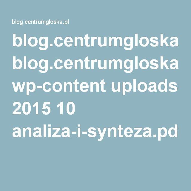 blog.centrumgloska.pl wp-content uploads 2015 10 analiza-i-synteza.pdf