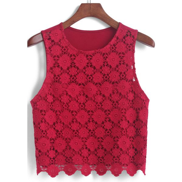 Romwe Lace Crop Tank Top ($12) ❤ liked on Polyvore featuring tops, shirts, tank tops, crop, red, red tank, red lace shirt, red vest, lace vest y red shirt