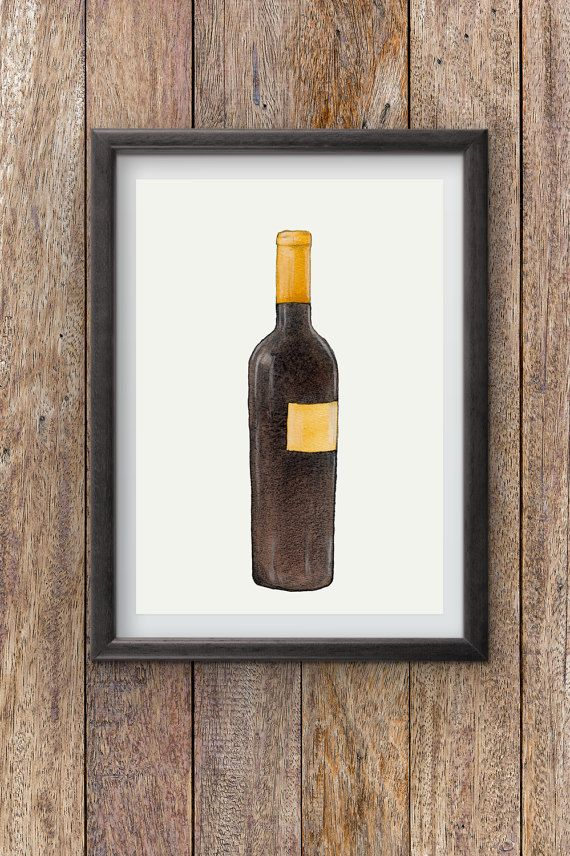 Wine Bottle Watercolor painting instant download by Penfood
