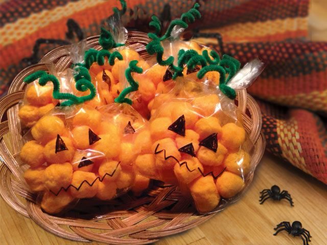 Most treats are sweet during Halloween time, but it's nice to have a salty snack too! These pumpkins made of Cheez Balls are fun and festive for kids anytime and are a cinch to make!