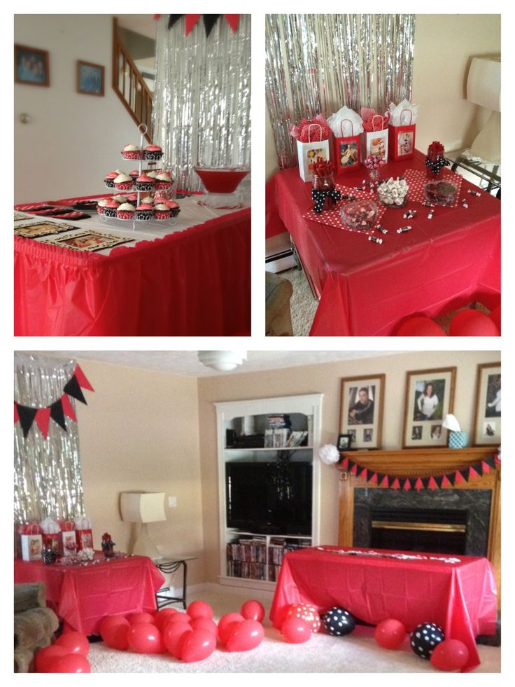 Pin Up themed bachelorette Party!  We had a prop and dressed up 1950's photo shoot, vintage car included! Then decorated with red, black, polka dots, Gil Elvgren print outs , cupcakes, cokes and more!