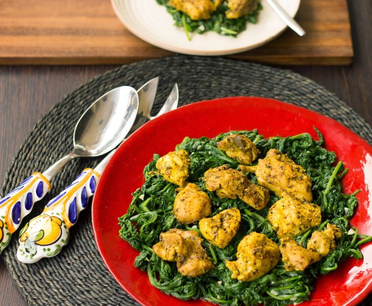 To the T: Pickled Chicken on a bed of Garlicky Spinach (Achari Chicken)