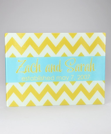 Take a look at this Yellow Chevron Personalized Cutting Board by Tickled Pink NOLA: Cutting Boards on #zulily today!