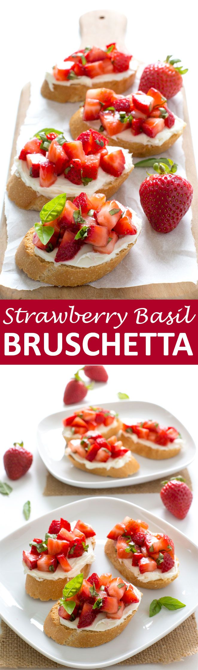 Strawberry Basil Bruschetta with creamy mascarpone cheese. A super easy appetizer with only 5 ingredients! Ready in less than 10 minutes! | chefsavvy.com #recipe #strawberry #basil #bruschetta