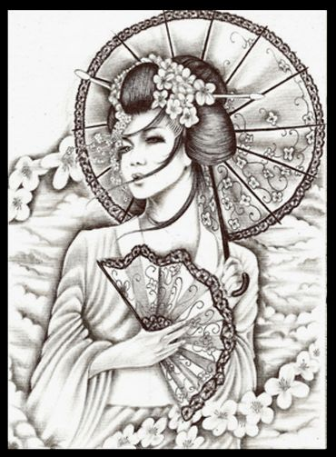 Cute Geisha tattoo                                                                                                                                                                                 Plus