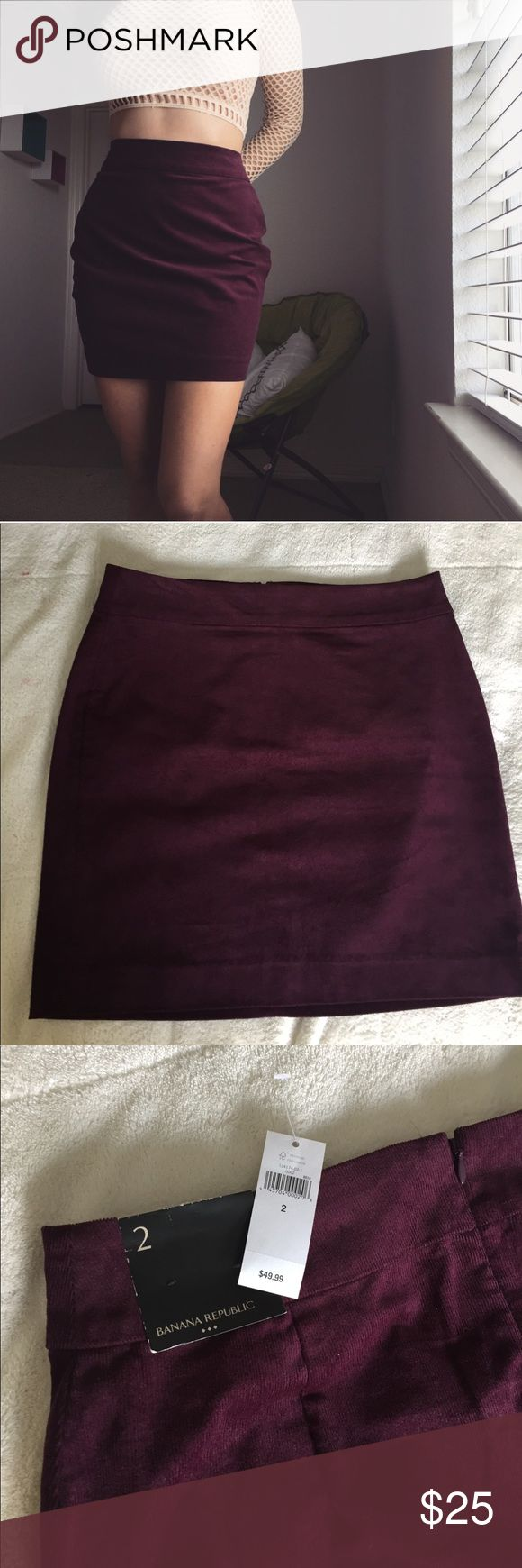 Banana Republic purple corduroy pencil skirt Perfect condition, new with tags. Size 2. Shown pinned on the model. Waist: 30 inches (shown on 25 inch waist) Length: 17.5 inches Banana Republic Skirts Mini