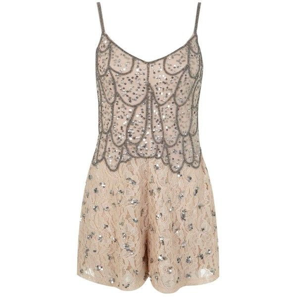Miss Selfridge Nude Embellished Playsuit (69 CAD) ❤ liked on Polyvore featuring jumpsuits, rompers, nude, embellished cami, playsuit romper, miss selfridge, strappy cami and silver cami