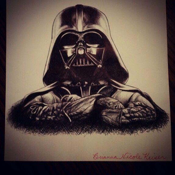 Darth Vader pen cross hatching drawing!