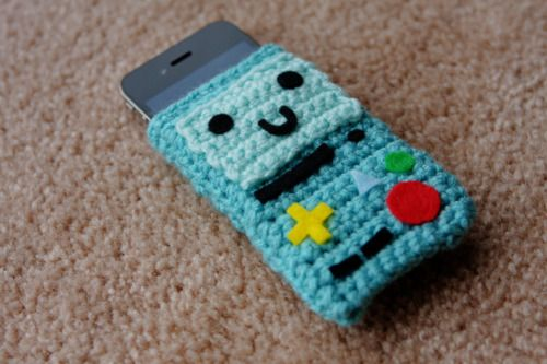 BMO from Adventure Time crochet iPhone sleeve, could be sewn or possibly painted as well.