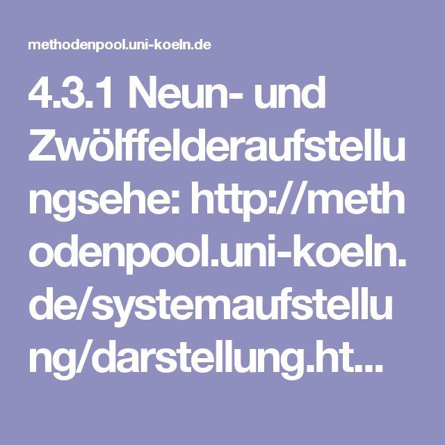 4.3.1 Neun- und Zwölffelderaufstellungsehe:http://methodenpool.uni-koeln.de/systemaufstellung/darstellung.html#4.3.1