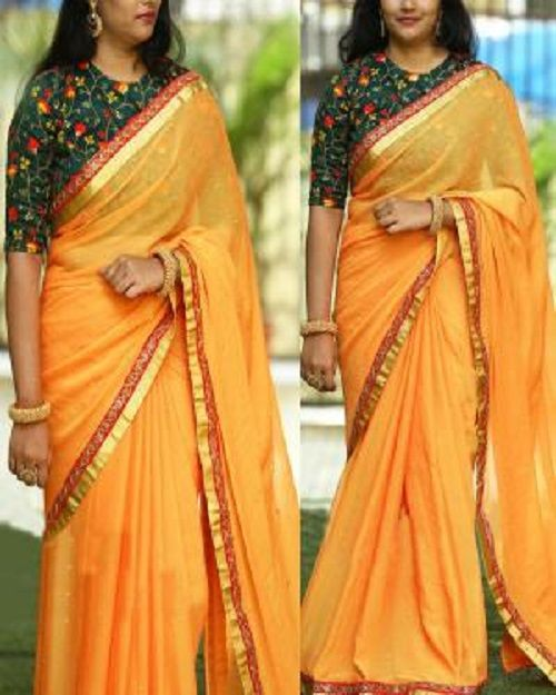 dd36ed3cbfc50 Traditional Partywear Yellow Colour Marble Art Silk Saree