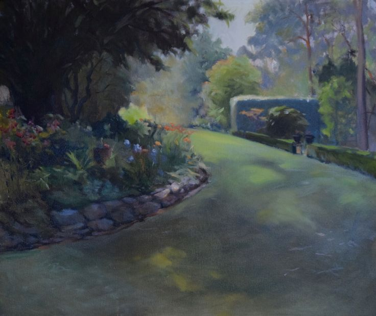 """""""Afternoon in Ashton"""". Donald Burrow. 51x 61cm. Oil on canvas. This painting is in the garden looking toward the afternoon light. Painted from direct observation."""