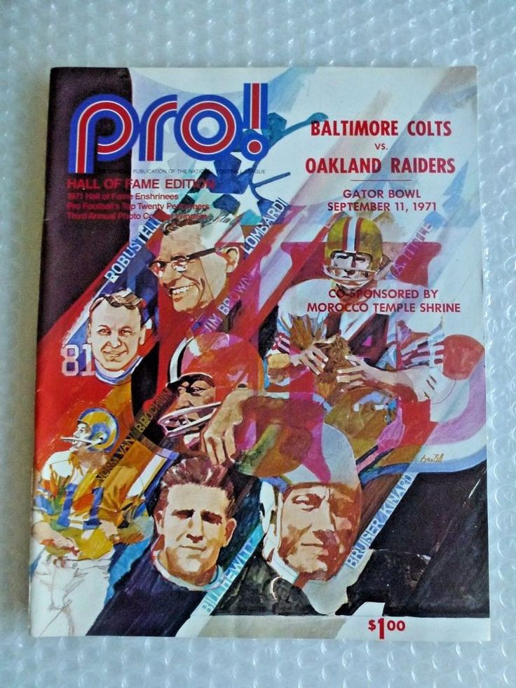 bALTIMORE COLTS OAKLAND RAIDERS GATOR BOWL 1971 PRO HALL FAME NFL MAG neocurio #BaltimoreColts #oaklandraiders #football #1970s #nfl #ebay #neocurio #sports