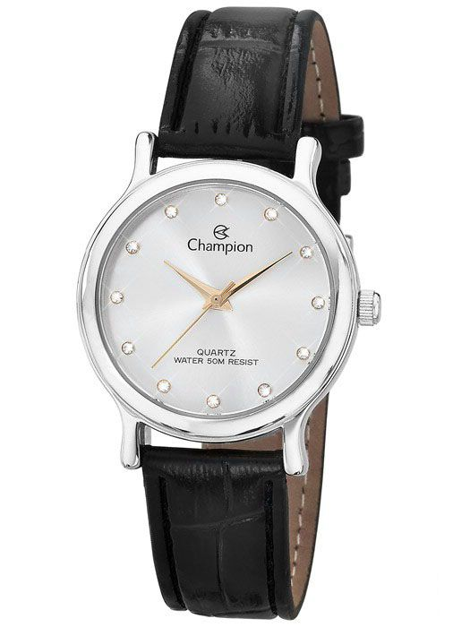 Relógio Champion Feminino Social Couro Preto CH24080S