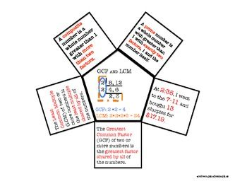 Foldable and Lessons for GCF and LCM and Prime Factorization