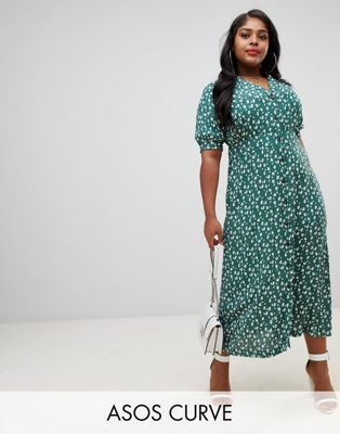 efc2e6be4bd92 ASOS DESIGN Curve button through maxi tea dress in ditsy floral print