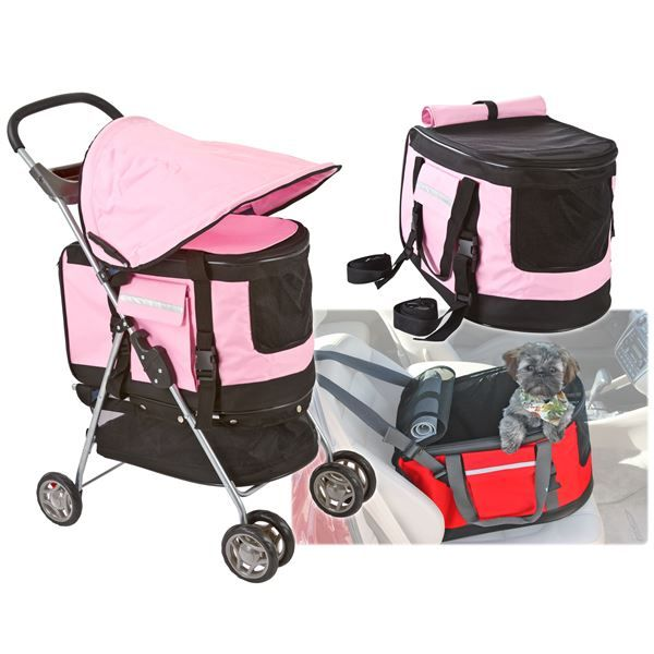 The qualtiy dog pink stroller and red stroller is the all-in-one travel product for your cat, dog, or other pet.