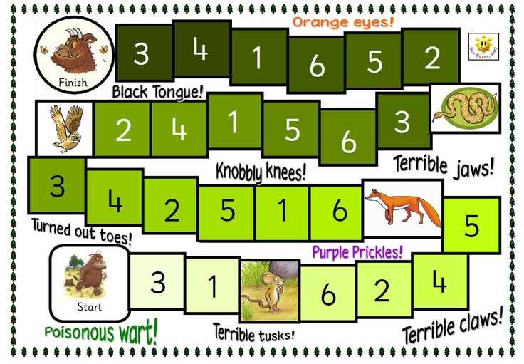 Build Your Own Gruffalo Game: Game with a jigsaw theme. Players move around the board collecting jigsaw pieces to make their own Gruffalo. Plenty of things to discuss around game board