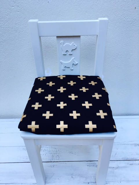 Ikea Kritter Childrens Chair Cover - Ikea childrens cushion pad - Black and Gold Childrens cushion by WattleCove on Etsy