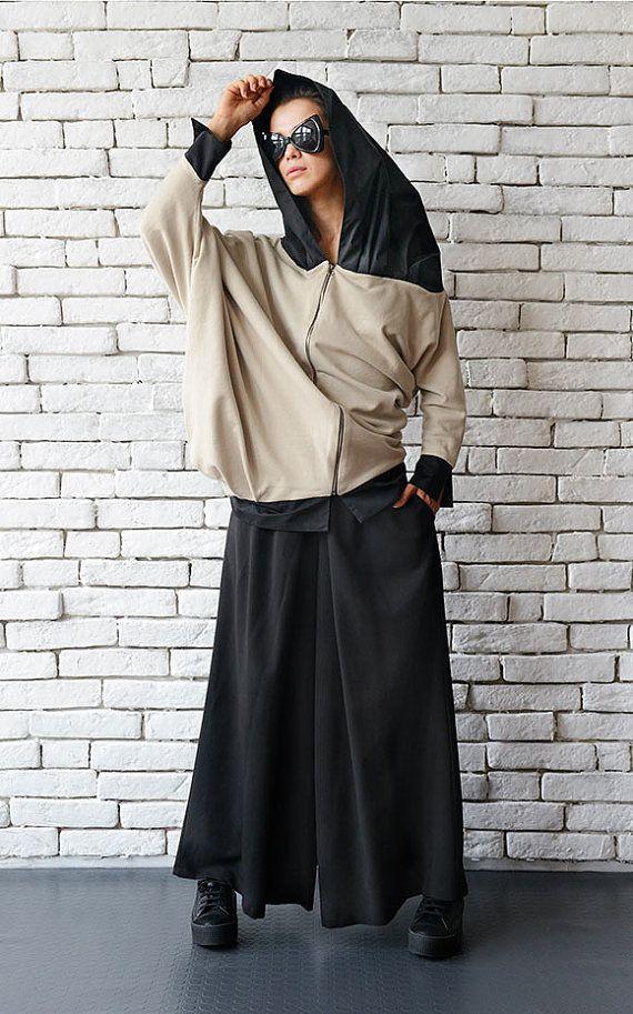 Beige Asymmetric Jacket/Loose Oversize от Metamorphoza на Etsy