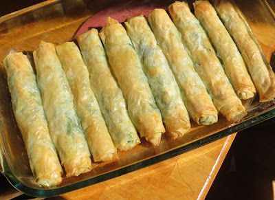phyllo dough rolls with spinach and cheese. A bit beyond my cooking skills but totally worth trying.