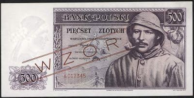 Poland money currency Polish banknotes 500 złoty zlotych