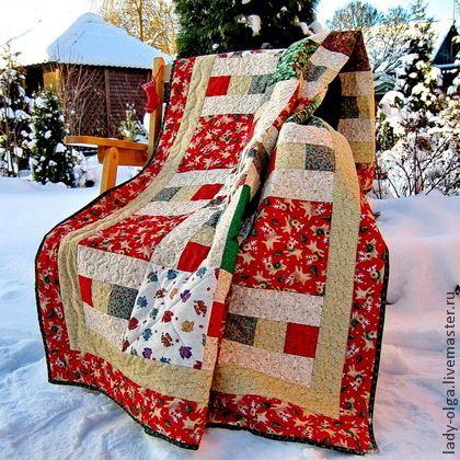 Лоскутное одеяло Рождество в Лапландии красное в детскую подарок - лоскутное покрывало