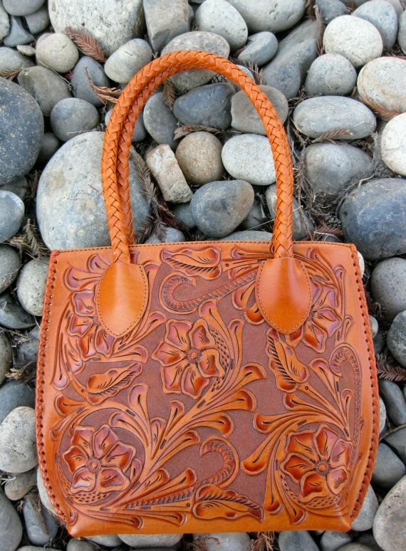 Hand Carved Apricot Leather Handbag Want Pinterest Tooled Purse And Purses