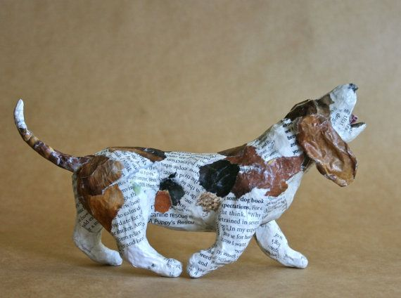 basset hound whimsical paper mache dog sculpture paper mache