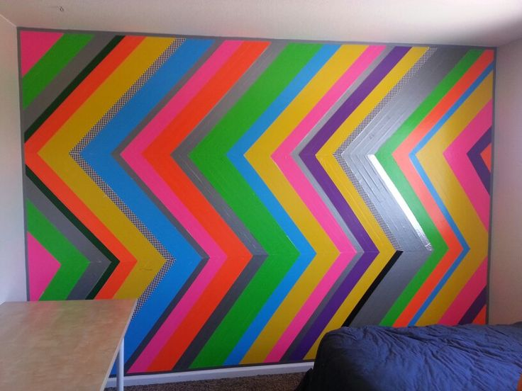 Boys Bedroom Duct Tape Wall In Chevron Neon Checkers Interiors Inside Ideas Interiors design about Everything [magnanprojects.com]