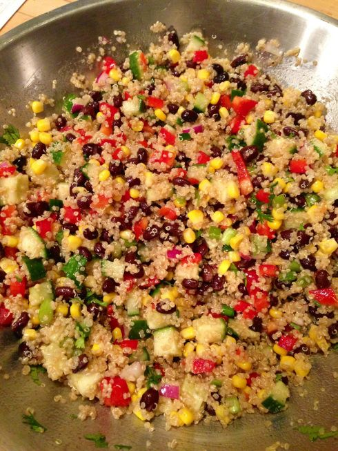 Fiesta Quinoa {recipe is for a cold, salad-type meal -- if you prefer quinoa hot, then sub zucchini for the cucumer} | beginwithinnutrition.wordpress.com